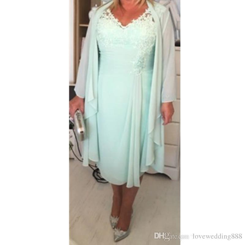 Plus Size Mother\' Dresses Mint Green Chiffon V Neck Applique Lace Long  Sleeves Jacket Tea Length Formal Evening Gowns Casual Dress 2019 Latest  Mother ...