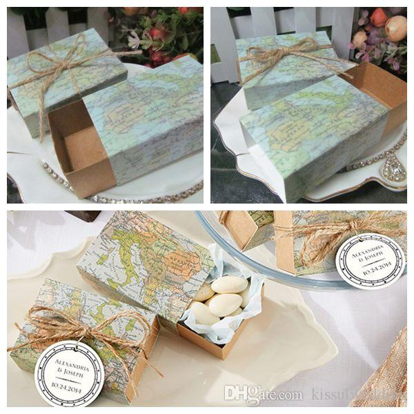 Wedding favor and Gift Map Favor Box for Bridal shower gift and decorative candy box 50Pcs/lot Free shipping Candy bag Party box