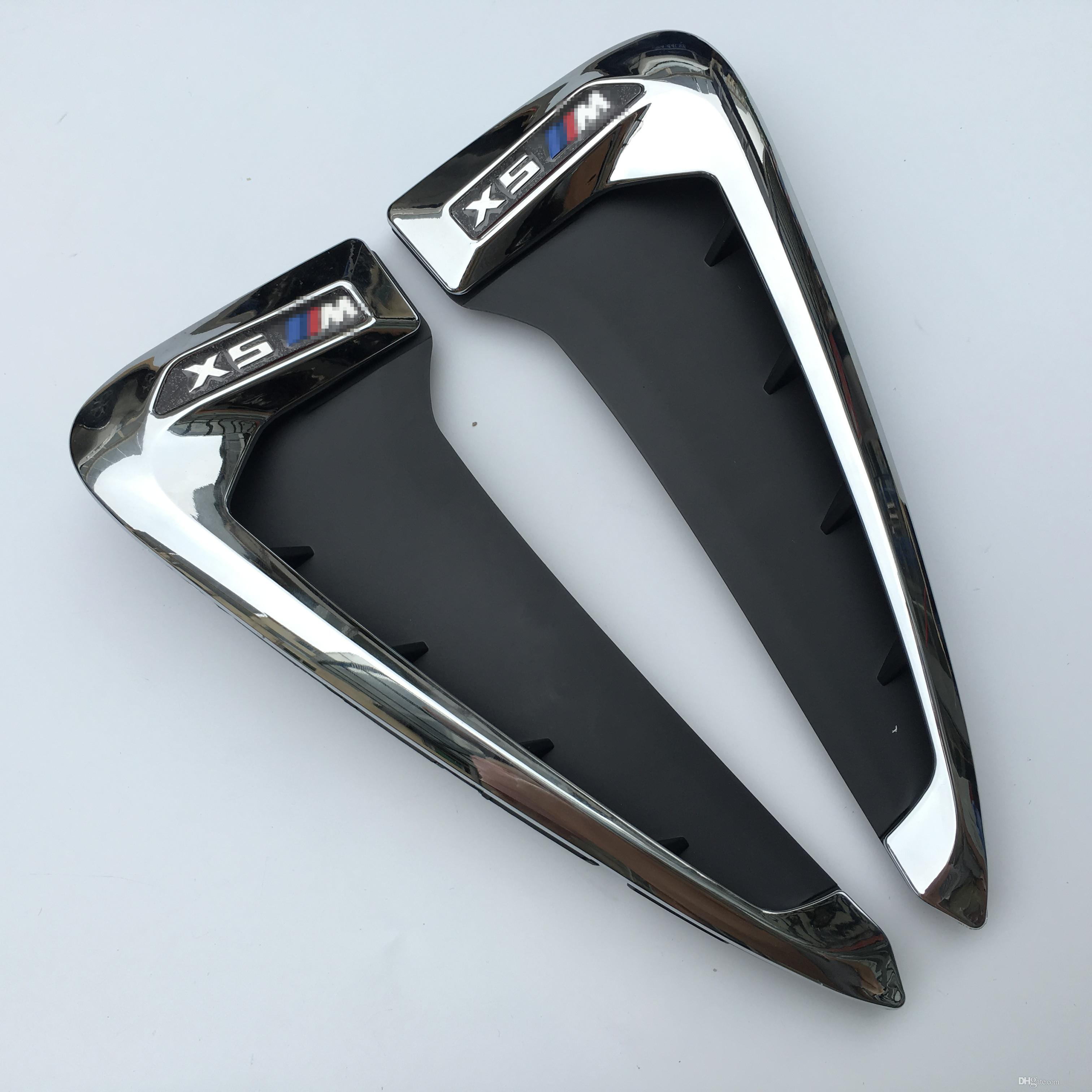 For BMW X5 F15 ABS Side Wing Air Vent Outlet Decorative Stickers Front Fender Side Nozzle Trim Black&Chrome