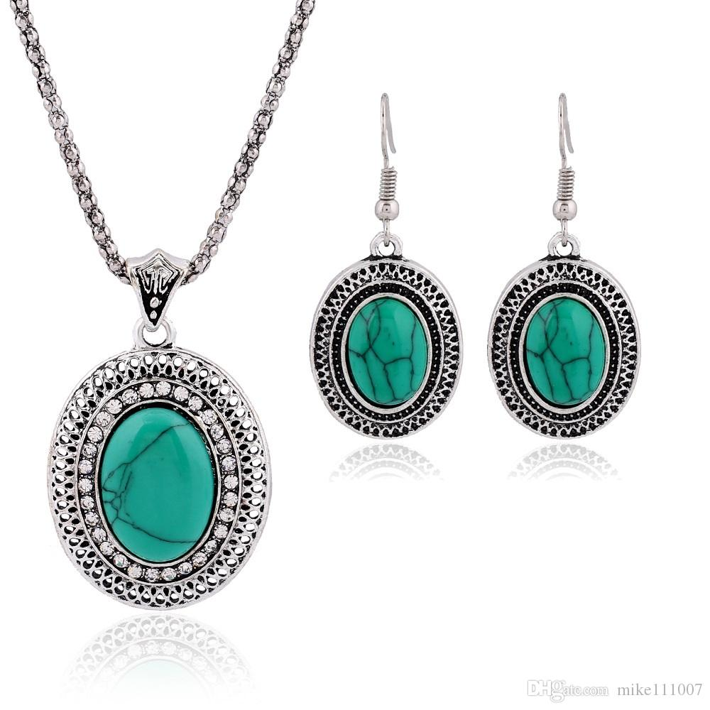 Antique Silver vintage Turquoise Stone Fashion Earrings and Necklaces set for women Jewelry set for women