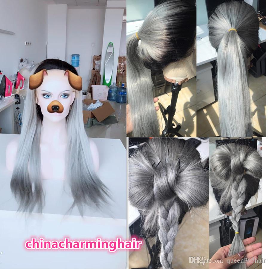 1b grey Ombre two tone Lace Front Wigs ombre grey human hair full lace wigs For Women Bleached Knots