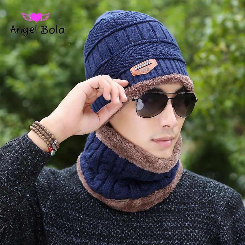 Kış Şapka Kapüşonlu Kap Ceket Seti Artı Kadife Kalın Yün Şapka erkek Sonbahar erkek Örgü Şapka