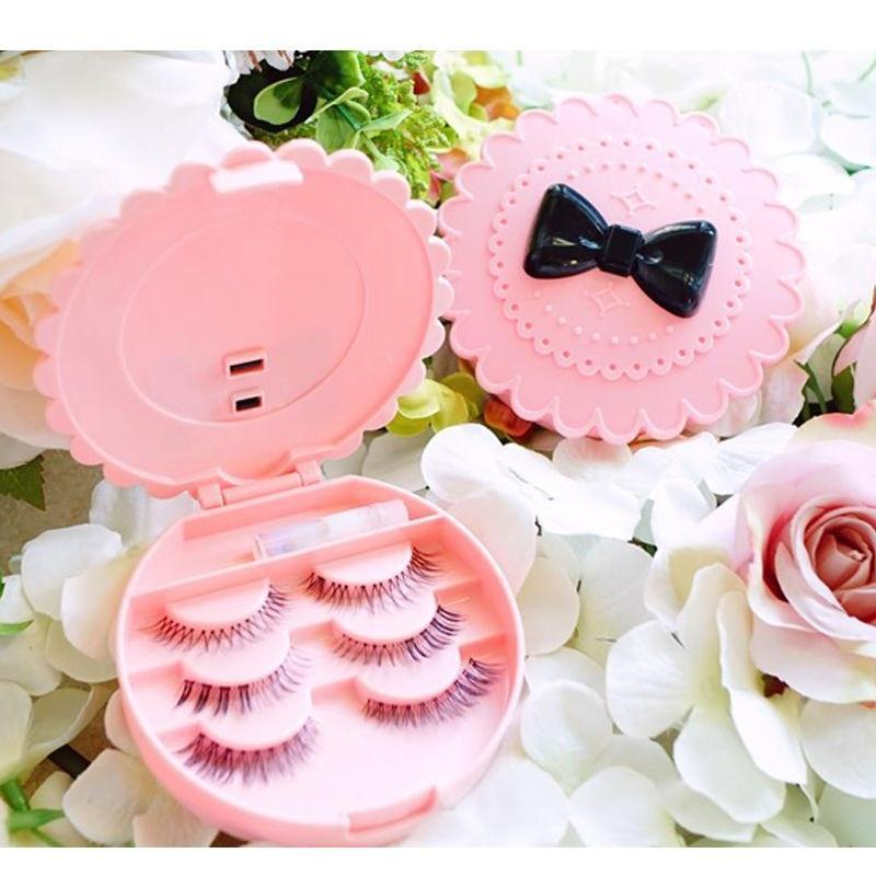 Wholesale- Acrylic Cute Bow False Make Up Cosmetic Eyelashes Storage Case Bow Makeup Plastic Box Home Tools