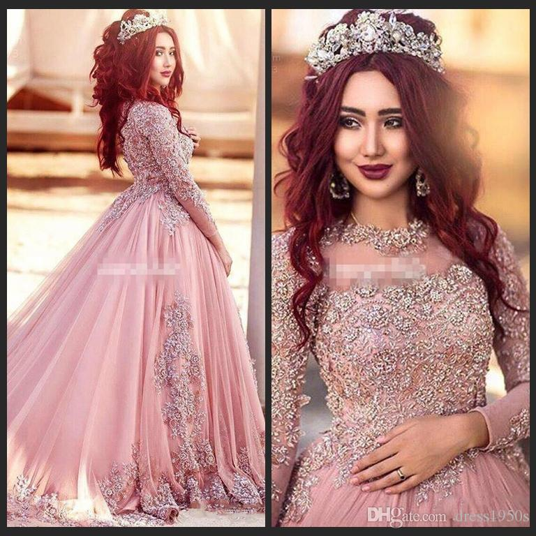 Ball Gown Long Sleeves Prom Dresses Princess Muslim Evening Party Gowns With Beads Red Carpet Runway Dresses Custom Made