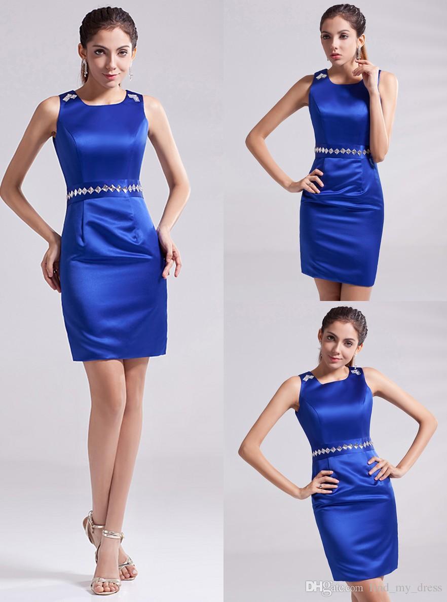 2019 estilo popular vestidos de cocktail azul curto mini bainha jóia pescoço sem mangas cristais vestidos de festa de cetim feito sob encomenda