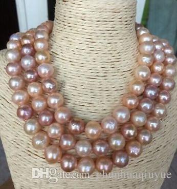 Elegante collana di perle multicolor in oro giallo 9-10mm con oro giallo 14k