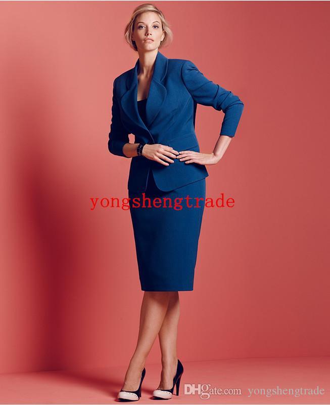 Custom Made Woman Suit Plus Size Blue Suit Plus Size One Button Blazer & Plus Size A-Line Skirt Notched collar HS7954