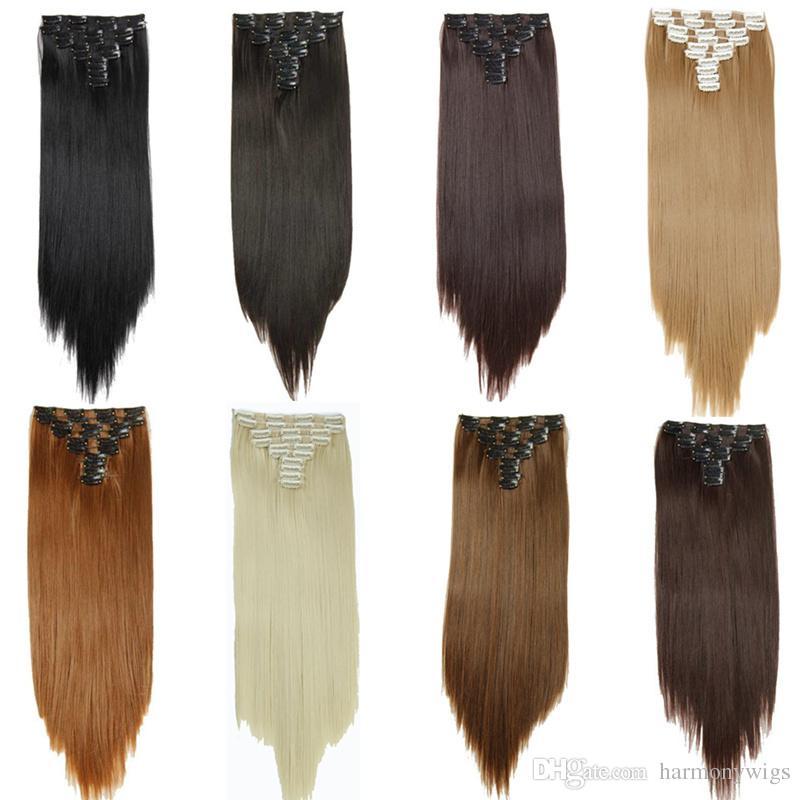 10 pz / set Clip sintetica per capelli estensioni per capelli lisci 25 inch 160g Clip per capelli estensioni 16 colori
