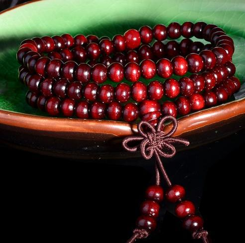 Fake red sandalwood Bracelet, 108 Buddha beads, 6mm and 3 circles, free shipping and high quality
