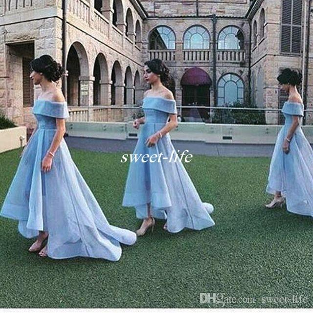 d972487c84 Off Shoulder Sky Blue Ball Gown Wedding Guest Party Maid of Honor Dresses  Arabic Prom Gowns 2016 Hi Lo Plus Size Bridesmaid Dresses