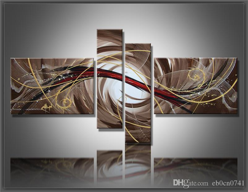 Hohe Qualität Home Decoration handgemalte Kombination 4 Stück / Set Leinwand braun Wand abstrakte Ölgemälde Geschenk