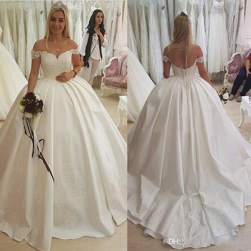 2018 Ivory Ball Gown Wedding Dresses Bridal Gowns Plus Size Off Shoulder  Lace Satin Wedding Gowns Applique Luxury Chapel Bridal Dresses Wedding  Dress ...