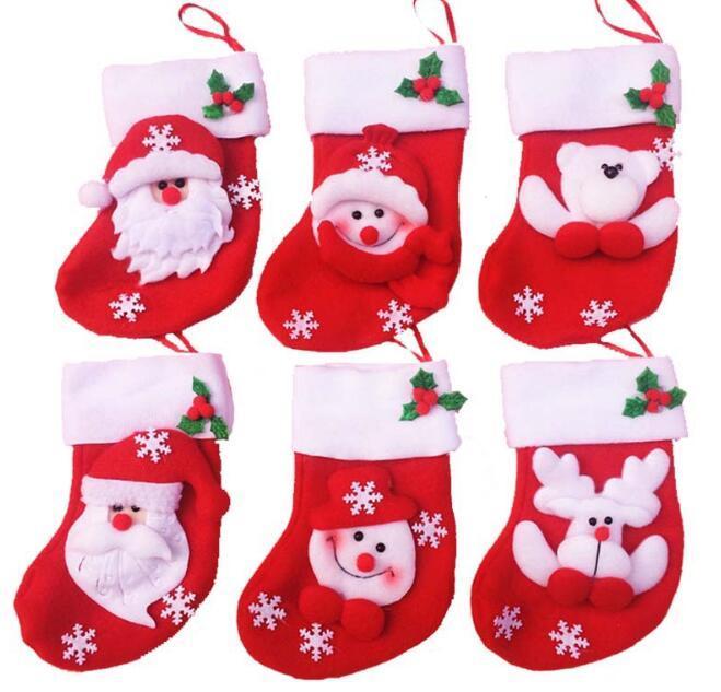 12 Pçs / lote Natal Mini Meias Presente Titulares Snowflake Tableware Doces Saco De Árvore De Dezembro Decoração Atacado Fg 408