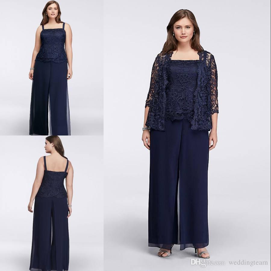 Gelin Pant Of Sıcak Satış Dantel Anne Ceketler Wedding Guest Giydirme Plus Size Koyu Lacivert Anneler Damat Elbise ile Suits