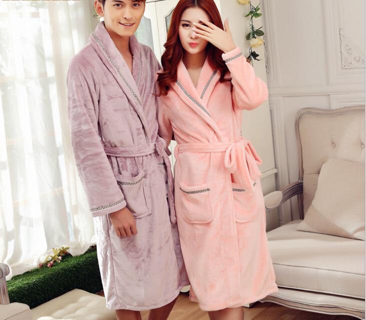 2018 Pop Nice Fashionwinter Women And Men Sleeping Wear Solid Long ...