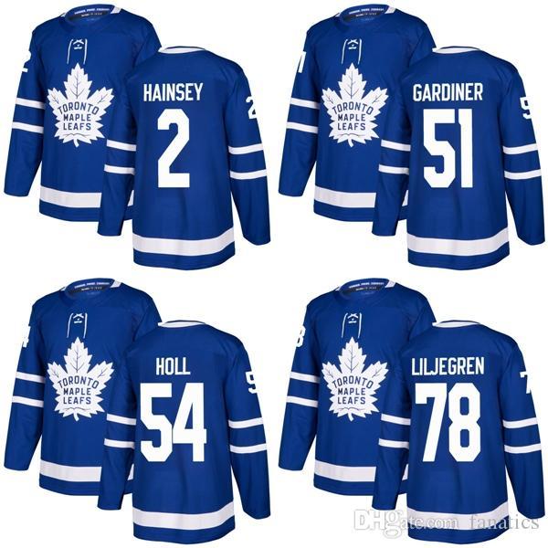 2018 2017 New Brand Mens Maple Leafs 2 Ron Hainsey 51 Jake Gardiner 54 Justin Holl 78 Timothy Liljegren Blue Custom Hockey Koszulki
