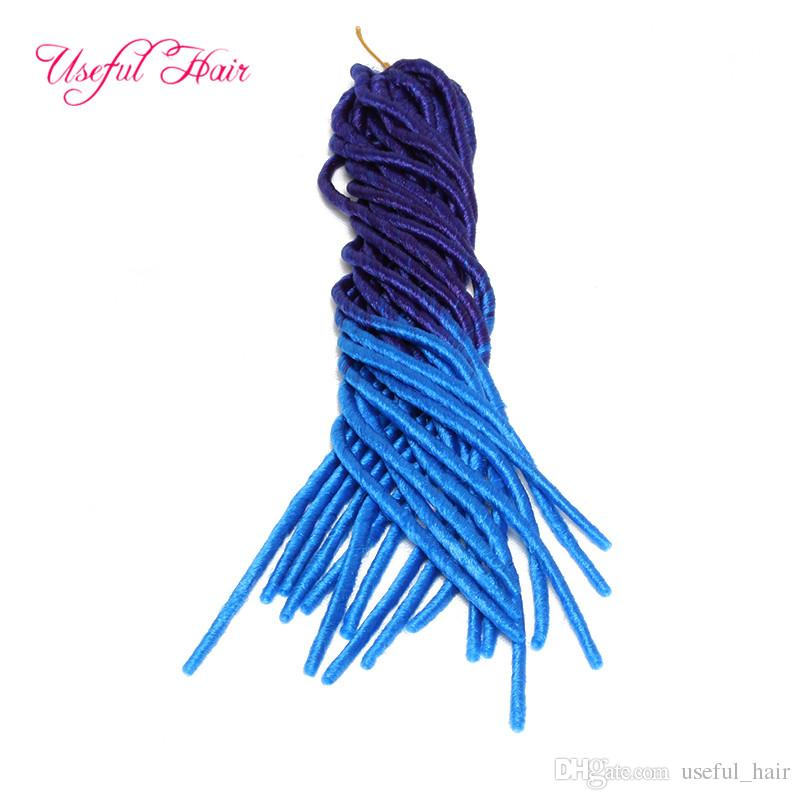 PURPLE BLUE MIX COLOR FAUX LOCS SofT braid in bundles dreadLOCKS SYNTHETIC braiding crochet braids HAIR MARLEY hair extensions JUMBO BRAIDS