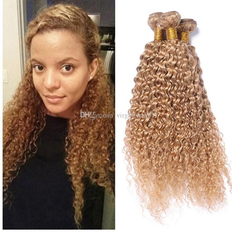 2019 Strawberry Blonde Afro Kinky Curly Human Hair Weave Virgin Brazilian Hair Wefts 27 Blonde Kinky Curly Hair Extensions From Virgin Hair01 96 09