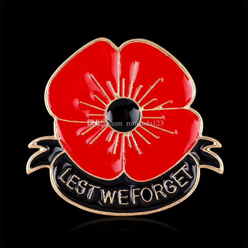 KENYG Lest We Forget Red Flowers Brooch Pins for Women Men Remembrance Day Memorial Gift Fashion Clothing Accessories