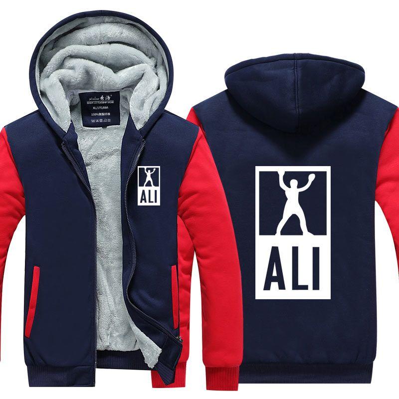 Sweats à capuche hiver d'homme ALI MOHAMMED Veste Fitness Vêtements de sport MMA Épaissir Zipper Coat Homme taille USA EU Plus SIZ