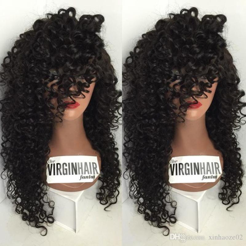 7A Full Lace Human Hair Wigs 180% Density Lace Front Human Hair Wig For Black Women Brazilian Natural Loose Curly Front Lace Wig