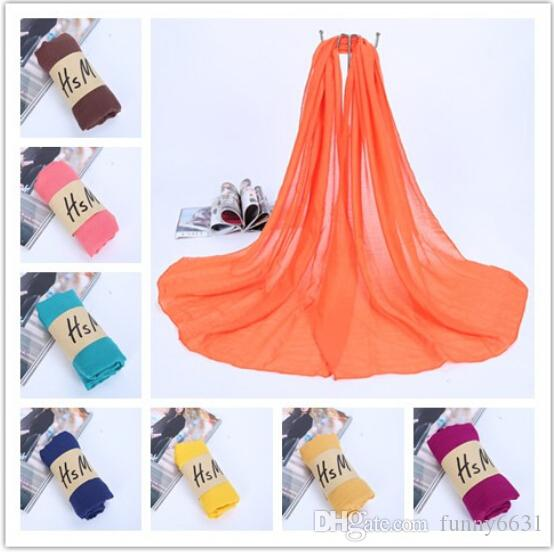 10PCS autumn winter Korean woman Pure color scarf ladies headband Cotton and linen scarf 20colors huge 180*75cm hot sale free shipping