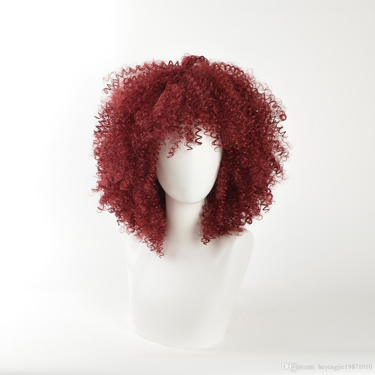 Xiu Zhi Mei Red Curly Synthetic Wigs for Black Women Natural Full American African Medium Afro Wig Cosplay Heat Resistant