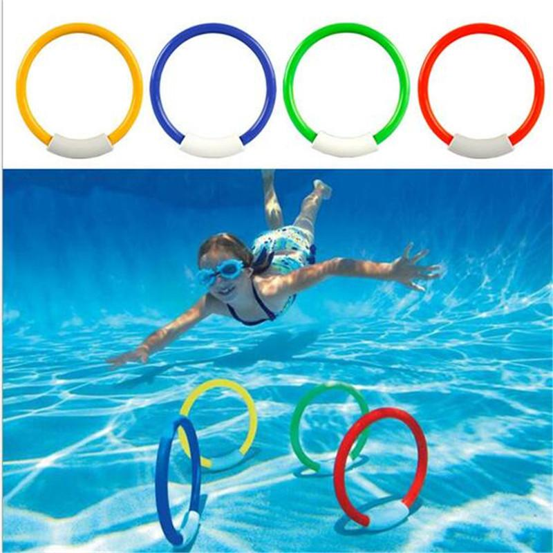 Hot Sale Underwater Swimming Diving Sinking Pool Toy Rings For Kid Children 4pcs/set For Free Shipping