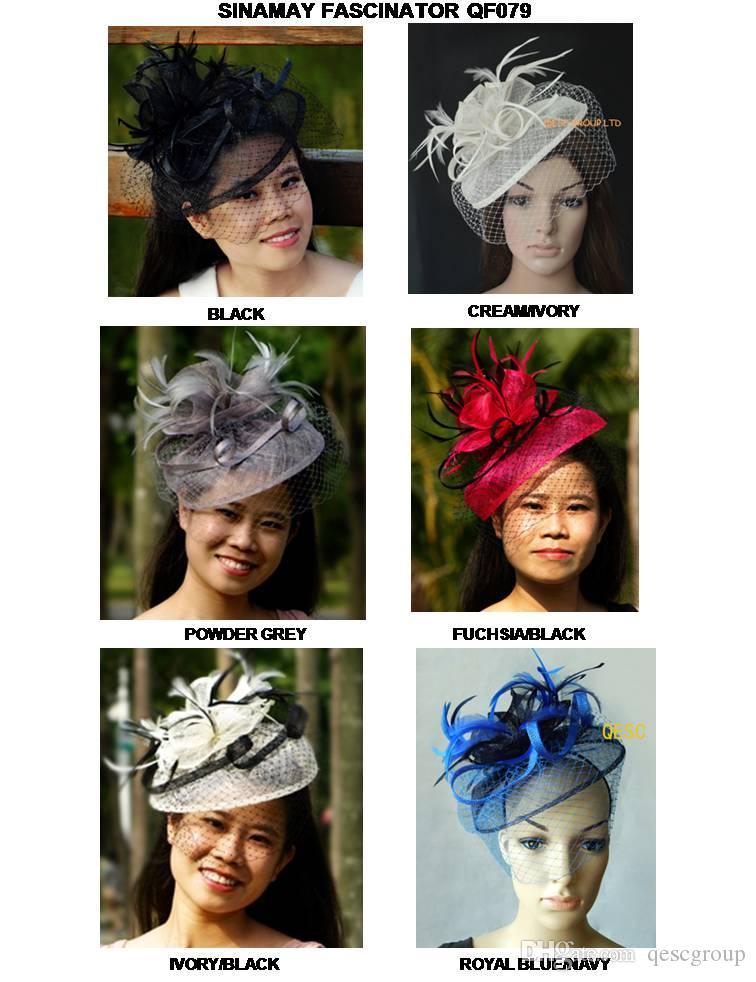 НОВОГО ЦВЕТ ARRIVAL.Dress Свадьбы способ партии Sinamay чародей шляпа с перьями и вуалью, 6 цветов