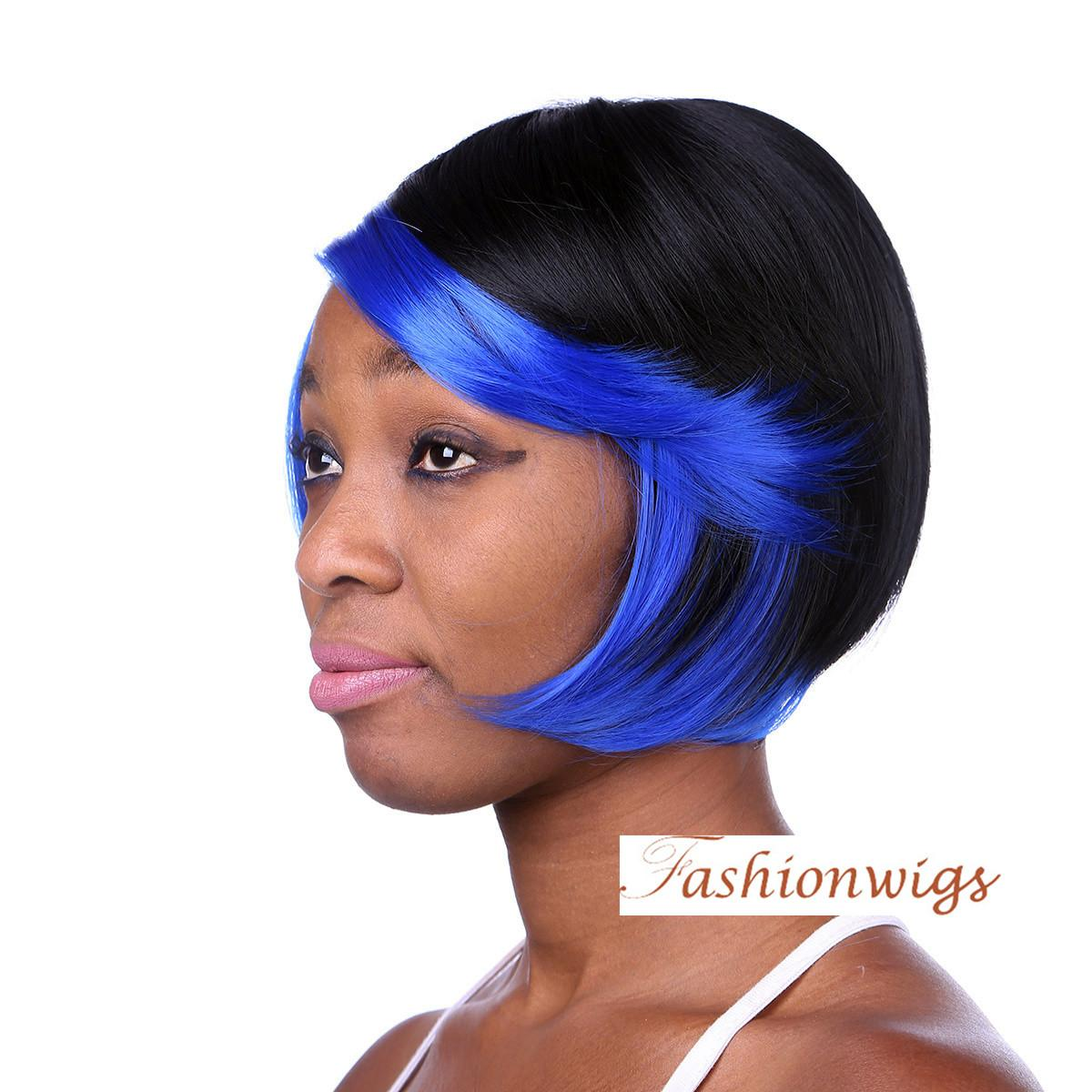 Straight Bob Hairstyle Synthetic Hair Wigs For Black Women African American Wigs Blue Black Heat Resistant Synthetic Wigs Ladies Wig Cheap Wigs With
