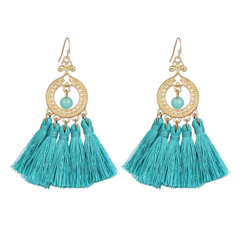 2017 Latest Earring Design Fashion 18K Gold Plated Women Tassel ...