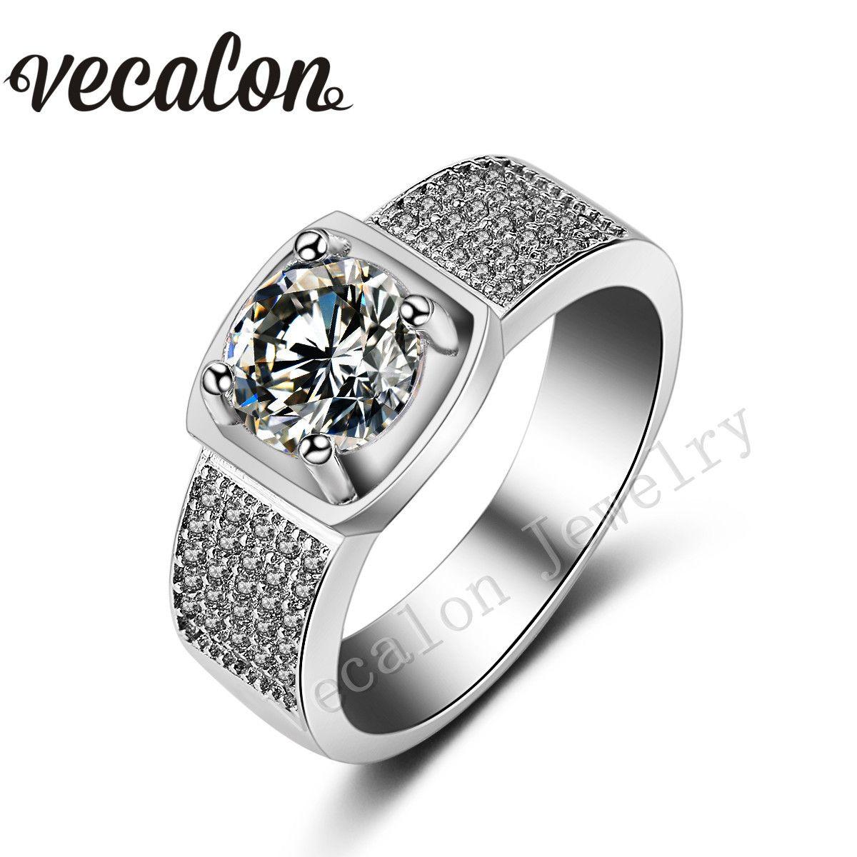 Vecalon ذكر حزب الدائري جولة 3ct توباز مقلد الماس تشيكوسلوفاكيا 925 فضة الاشتباك خاتم الزواج للرجال Sz 8-13
