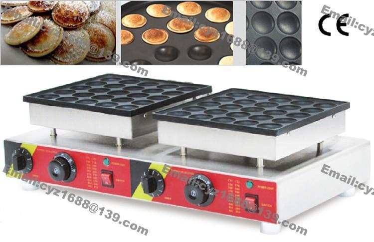 Envío gratuito el uso comercial antiadherente 50pcs 110v 220v eléctrica holandesa mini crepes Poffertjes Máquina de Baker fabricante de moldes de hierro Pan