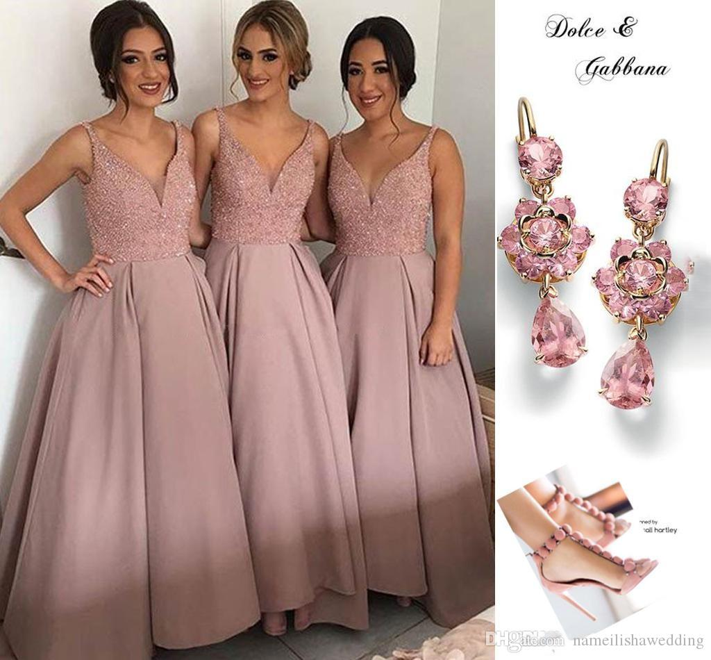 Rose Pink Ankle Length Bridesmaid Dresses V Neck Spaghetti Sequins Beaded Satin Short Wedding Party Gowns