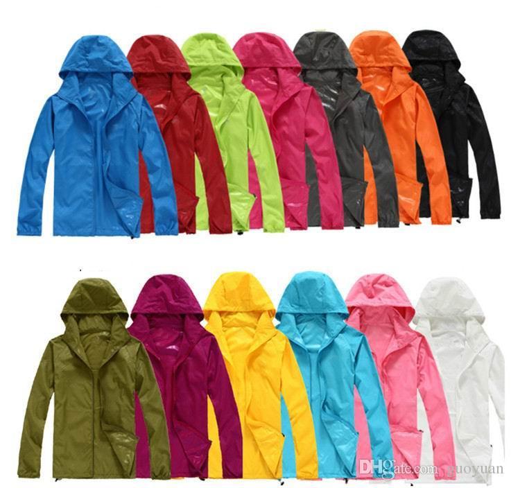 Mens Womens Sport Windbreaker Jackets Raincoat Lightweight Zip Waterproof Coat
