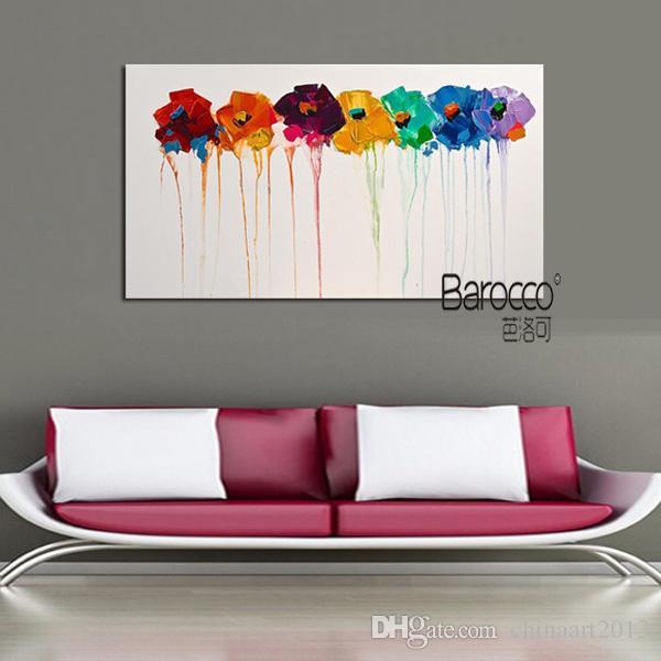 Stile moderno moderno fiori colorati 100% dipinto a mano olio su tela dipinti murali su tela per la decorazione domestica