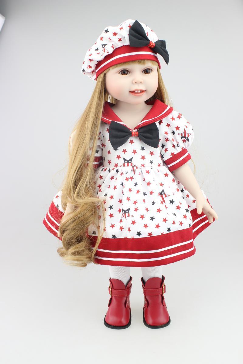 45 cm Mode Mädchen Amerikanische Puppe Realistische volles Silikon Vinyl Reborn Baby Weihnachten und Geburtstagsgeschenk