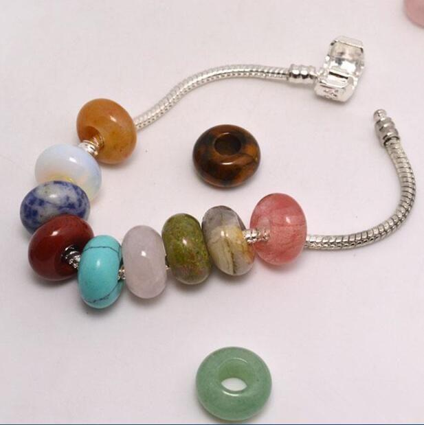 Bijoux bricolage pierre naturelle pierres précieuses perles haute poli 8 * 14mm perles en vrac grand trou Fit charmes bracelet européen bijoux accessoires