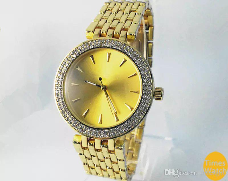 2019 Hot Top Selling Women Men Gold diamond wrist Relojes stainless steel rolse gold fashion watch Free shipping