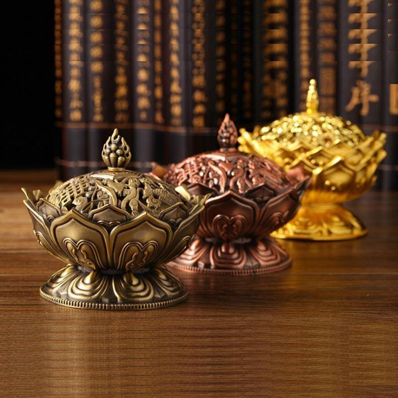 Tibetan Lotus Incense Burner Mini Alloy Bronze Censer Metal Craft Home Decor Buddhist Living Room Supplies XHH8014