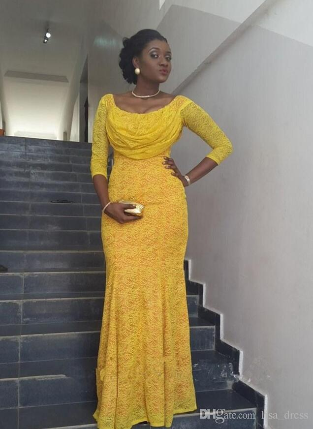 Nigerian Fashion Yellow Lace Prom Dress Scoop Long Sleeves Mermaid Floor Length Evening Bride Party Gown African Mid Length Evening Dresses Modern