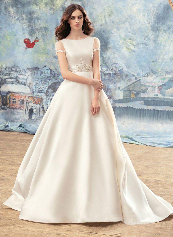 compre vestidos de novia modestos vestidos de novia de manga corta