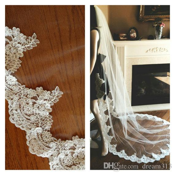 Accessories New Top Quality Best Sale Romantic Chapel White Ivory Lace Edge veil Bridal Head Pieces For Wedding Dresses