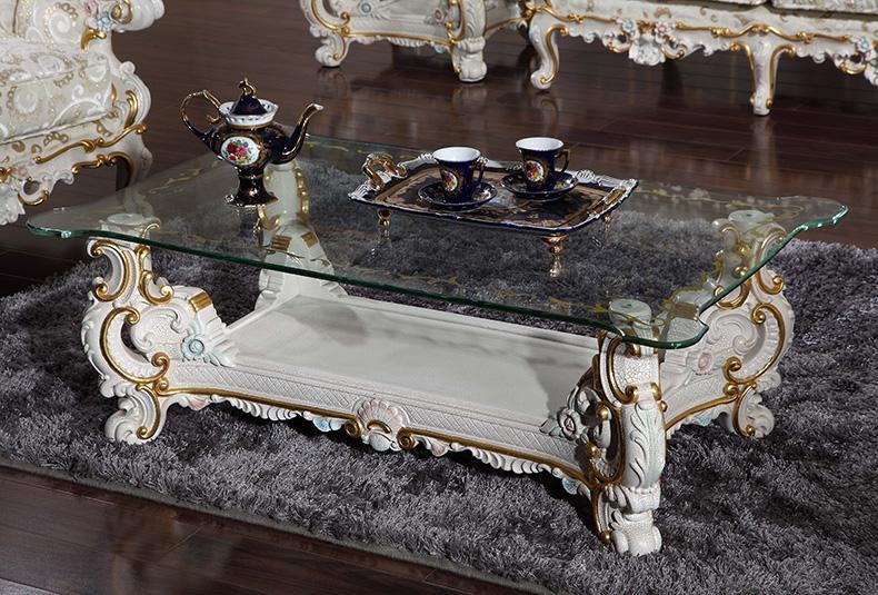 Antique solid wood living room furniture -European classic coffee table -Italian furniture