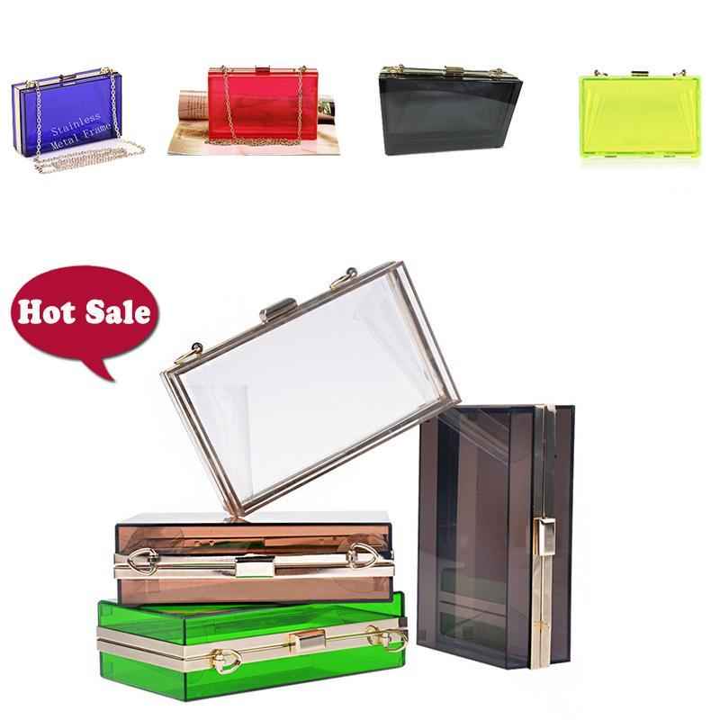 Summer Bag Trasparente Plastica Messenger Moda trasparente telaio telaio Borsa in metallo acrilico Metallo Scatola per frizione Pochette DT001 - TOBGG