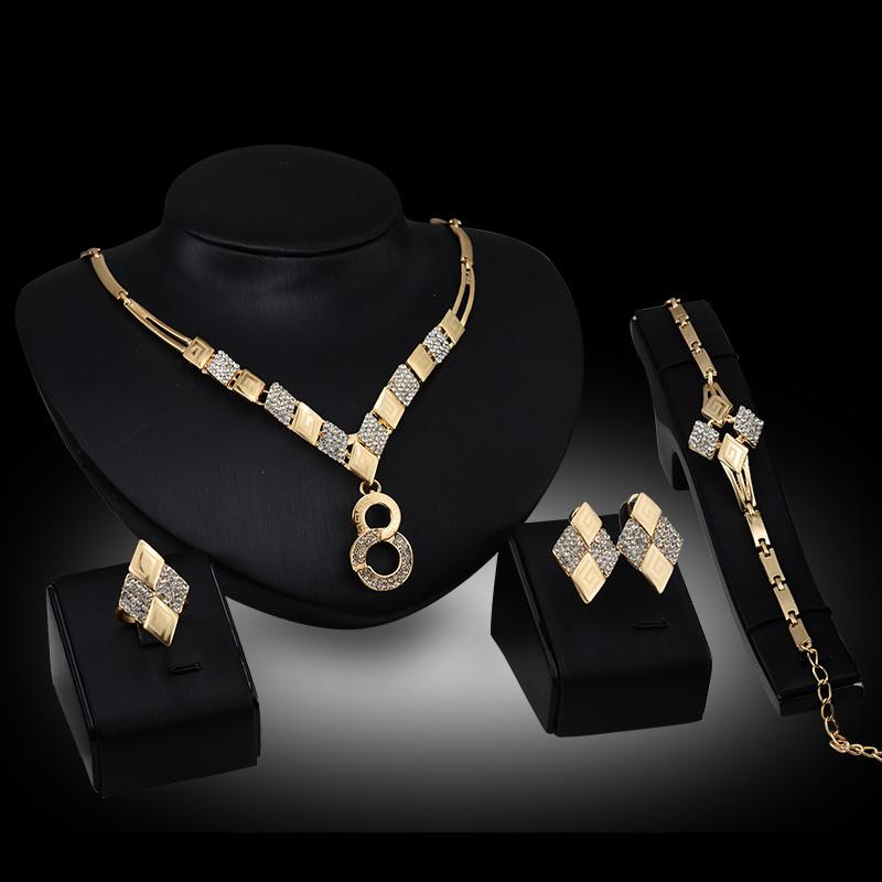 Joyería africana 2016 Nueva Moda Rhinestone Party Jewelry Mujeres 18K chapado en oro Geométrico Wedding Jewelry Sets 4 piezas Set Wholesale JS074