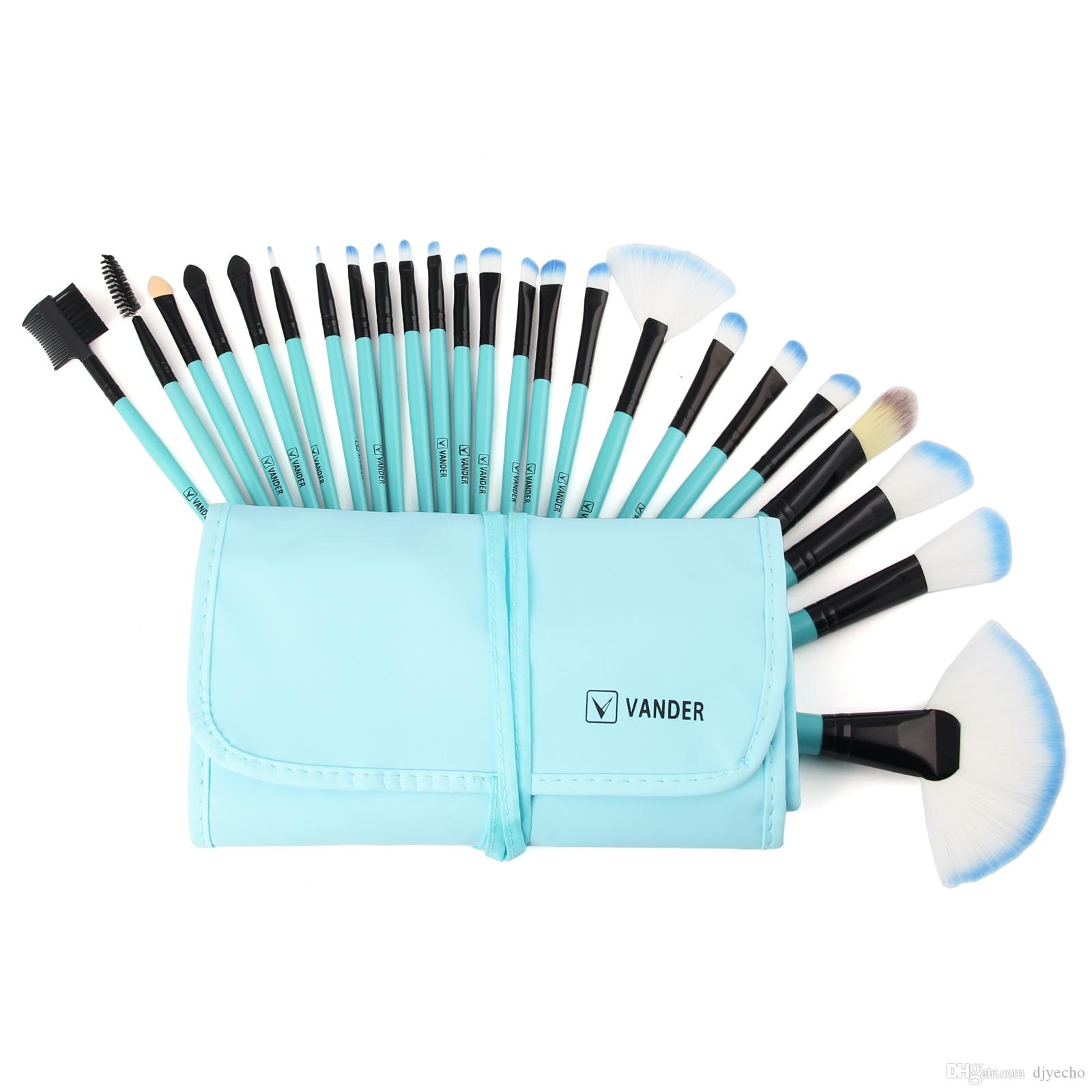 VanderLife Pro Maquillage Brosses À Brosser Ensemble 24pcs / lot Bleu Pinsel Cosmétique Fondation Poudre Blush Eyeliner Blending Brushes Kit Avec Sac