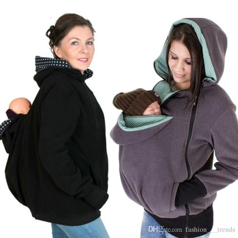 جديد الشتاء الطفل الناقل سترة الكنغر هوديي ثالوث الأمومة قميص معطف بلوزات النساء الحوامل سميكة الحمل طفل قميص