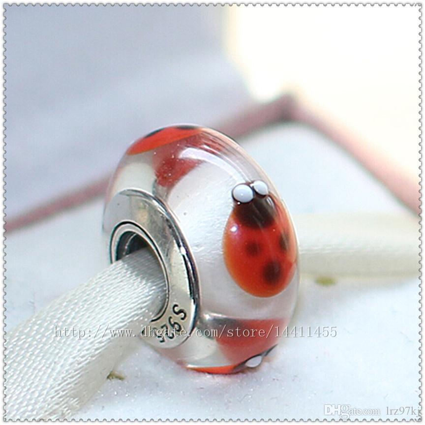 5PCs 925 Sterling Silver Högkvalitativ skruvkärna Murano Glaspärla Passar Europeiska Pandora Smycken Charm Armband Halsband