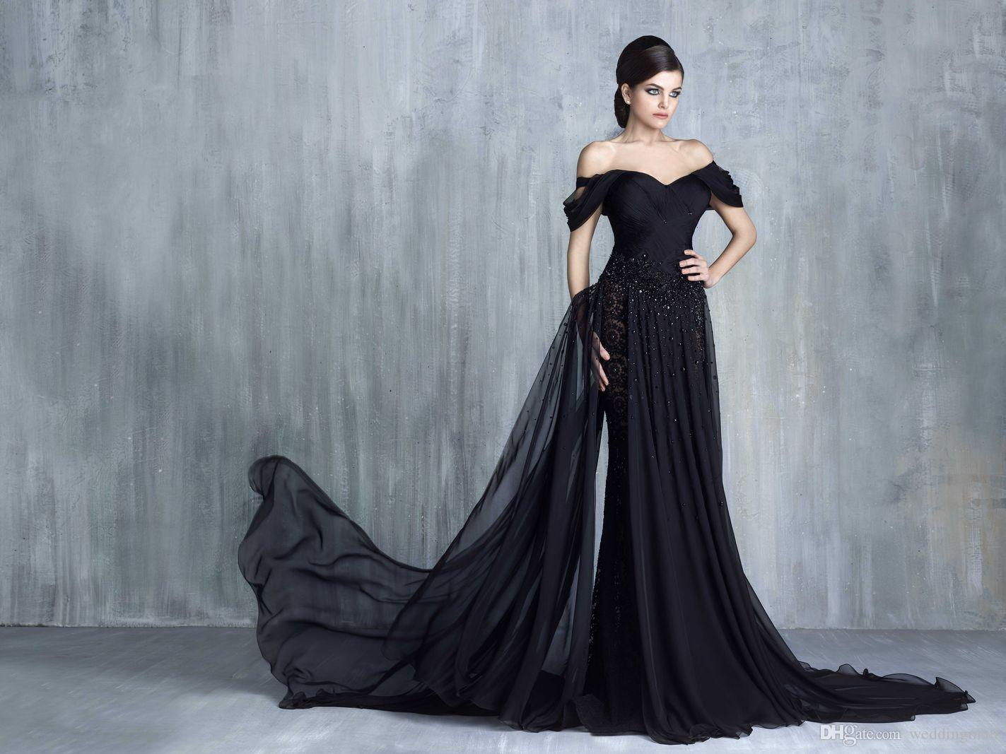 2016 Tony Chaaya Black Luxurious Arabic Evening Dresses Sweetheart ...